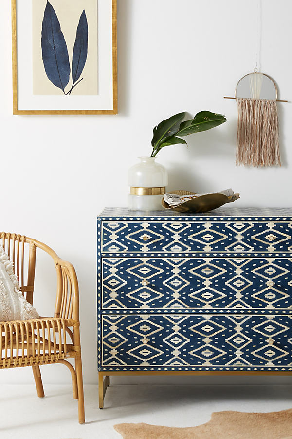 Ikat Inlay Three-Drawer Dresser - Navy