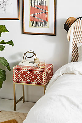 Slide View: 1: Ikat Inlay Nightstand