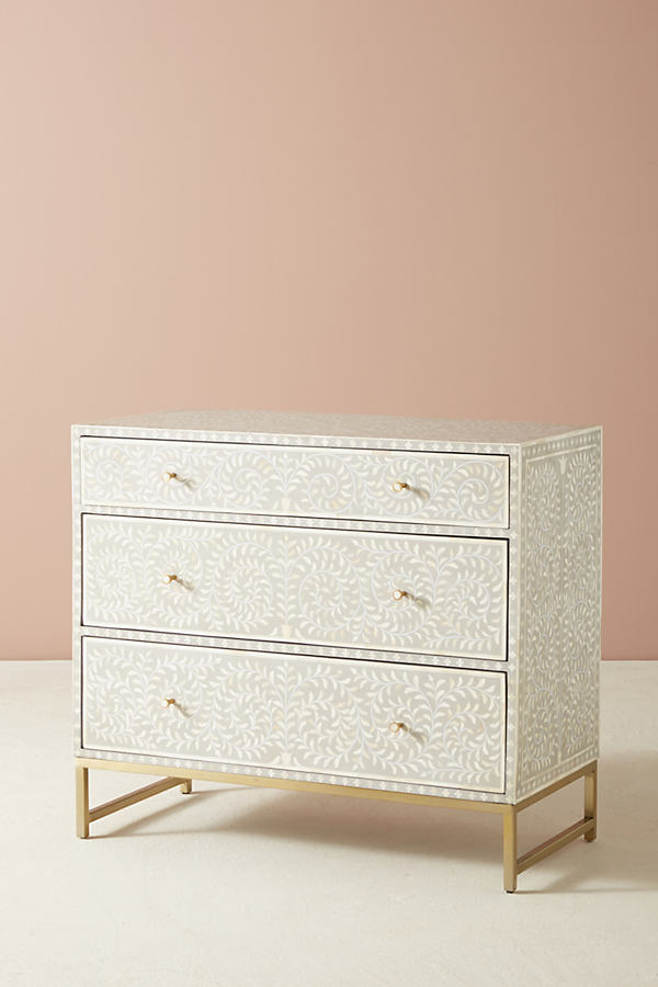 Scroll Vine Inlay Three-Drawer Dresser - Light Grey
