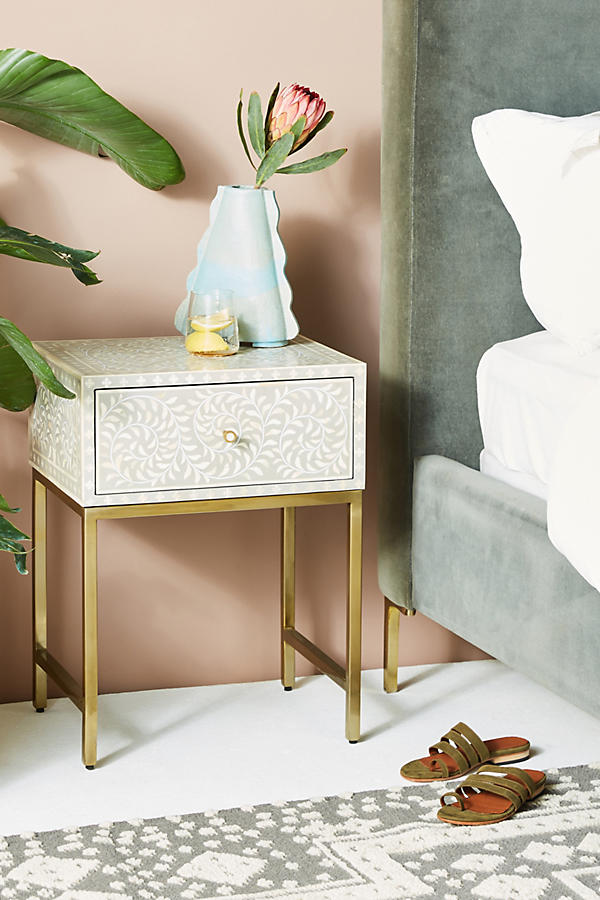 Slide View: 1: Scroll Vine Inlay Nightstand
