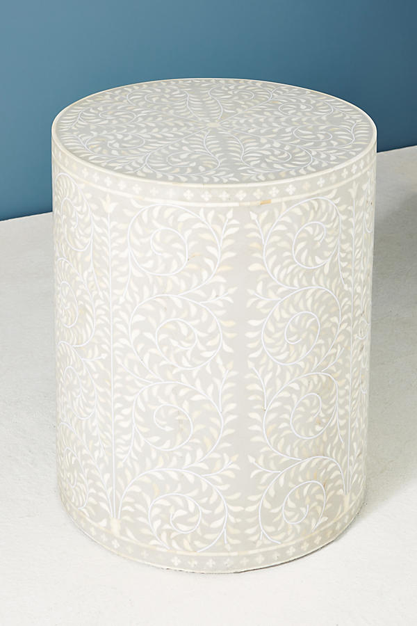 Slide View: 2: Scroll Vine Inlay Drum Side Table