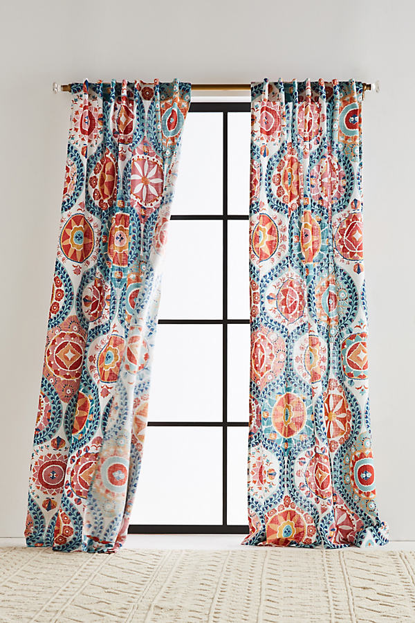 Merida Curtain - Red Motif, Size 50 X 108