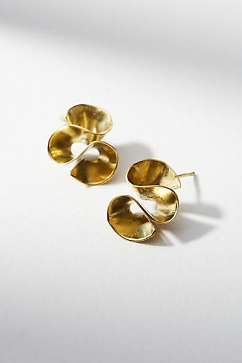 Petite Ruffle Wave Earrings