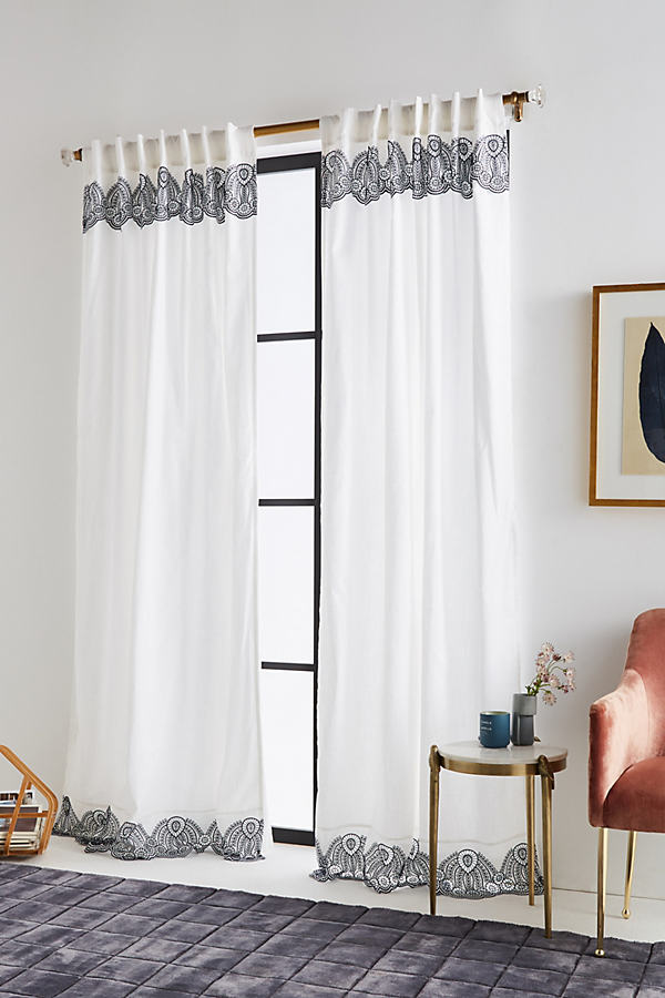Embroidered Lola Curtain - Navy, Size 50 X 84