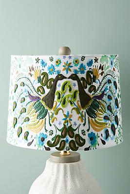 Slide View: 1: Peacock Badia Embroidered Lamp Shade