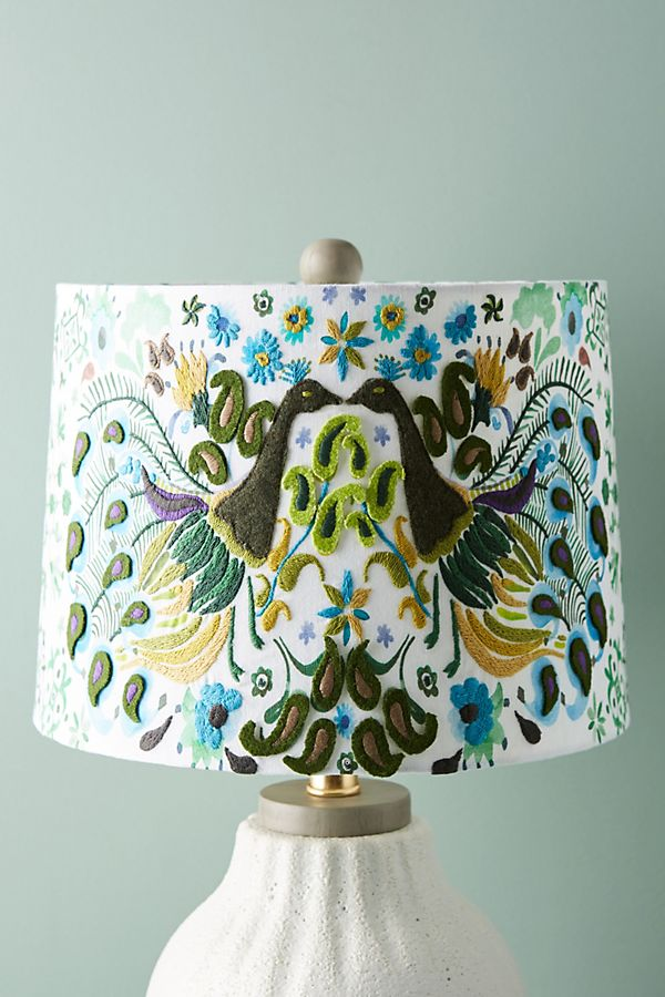 Peacock badia embroidered lamp shade anthropologie aloadofball Images