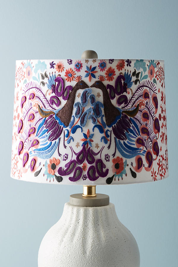 Anthropologie embroidered lamp shadeembroidered lampshade lovely peacock badia embroidered lamp shade anthropologie aloadofball Images
