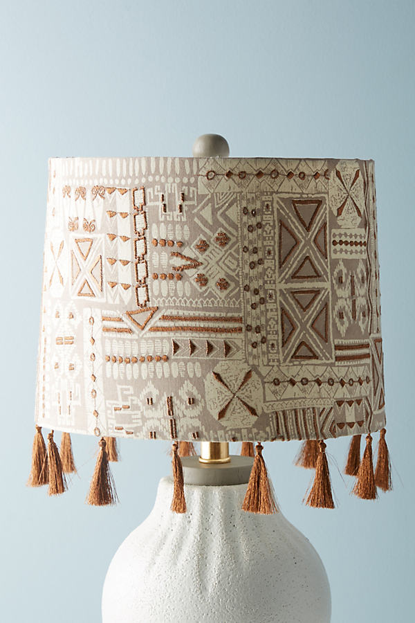 Fringed Nurata Lamp Shade - Neutral, Size S