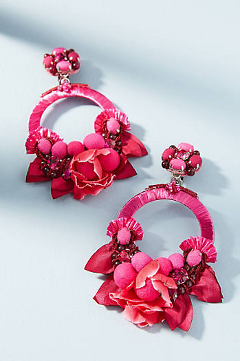 Magenta Flower Drop Earrings