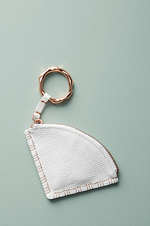 Leather-Bound Coin Purse - White, Size S