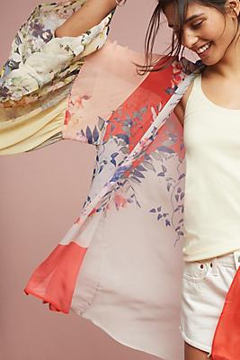 Slide View: 1: Georgette Ruffle Kimono