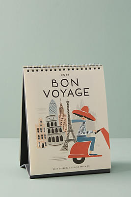 Slide View: 1: Bon Voyage 2018 Desk Calendar