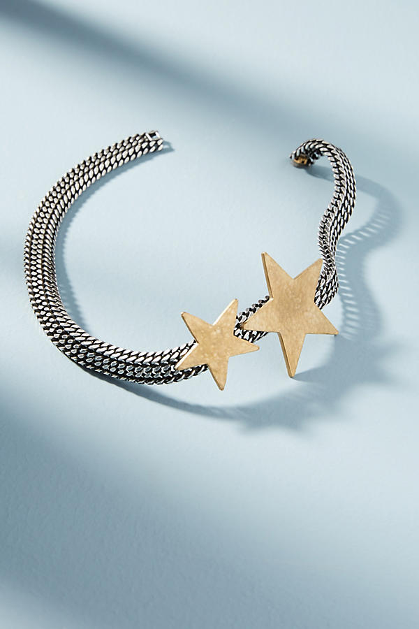 Slide View: 2: Chainlink Star Collar Necklace