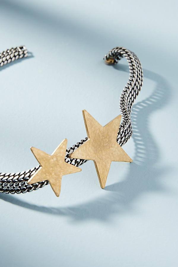 Slide View: 1: Chainlink Star Collar Necklace