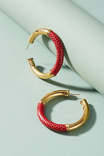 Leather Acreole Hoop Earrings