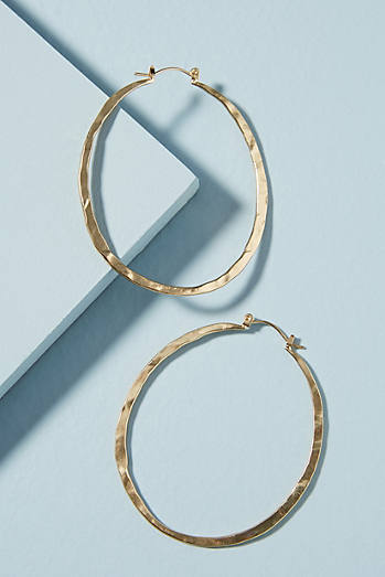 Hammered Pineapple Hoop Earrings