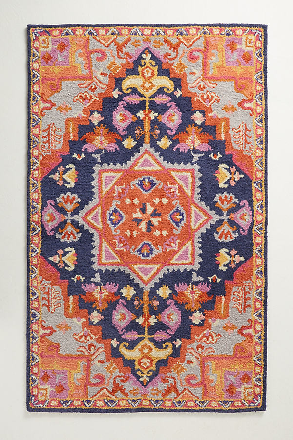 Amerita Rug Swatch - Orange Motif, Size Swatch