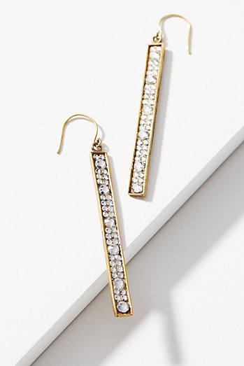 Rhinestone Matchstick Drop Earrings