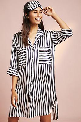 Slide View: 1: Violet & Wren Silk Striped Sleep Shirt
