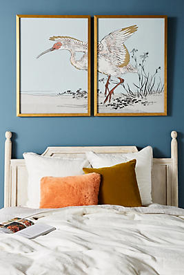 Slide View: 1: Gilded Heron Diptych Wall Art