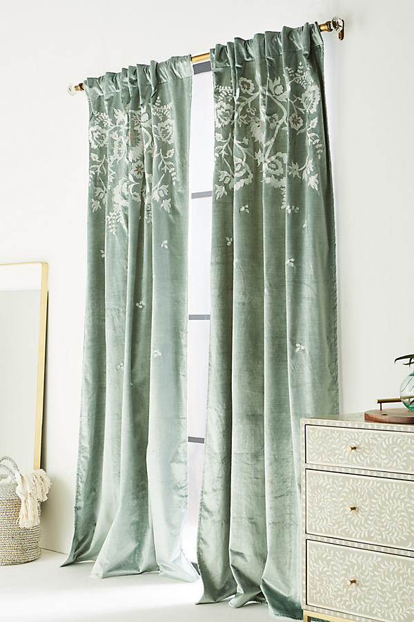 Embroidered Elondra Curtain - Moss, Size 50 X 84