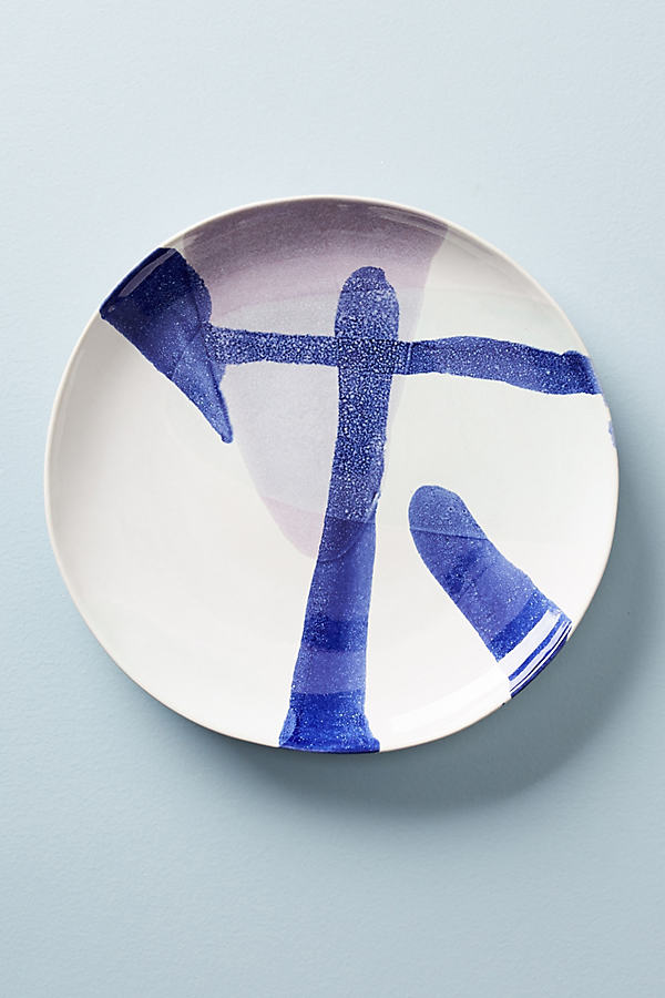 Karine Dessert Plate - Blue Motif, Size Salad