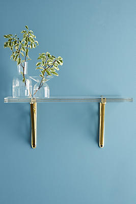 Slide View: 1: Brass Inlay Lucite Shelf
