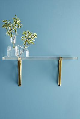 Slide View: 1: Brass Inlay Lucite Shelf