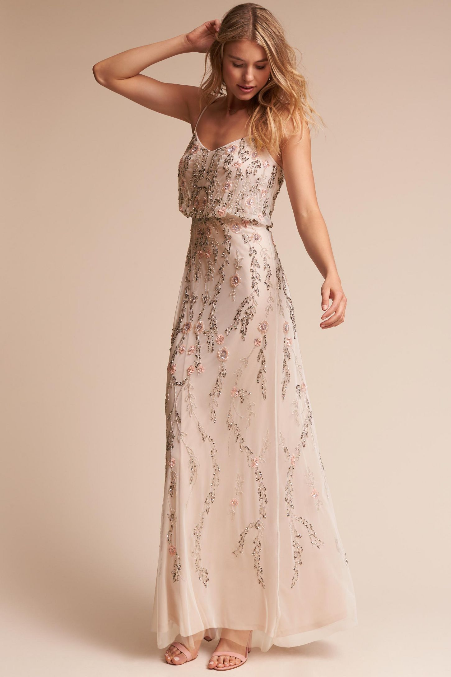 Beige wedding guest dresses anthropologie tribute dress junglespirit Choice Image