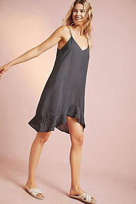 Slide View: 1: Asymmetrical Ruffled Slip Dress