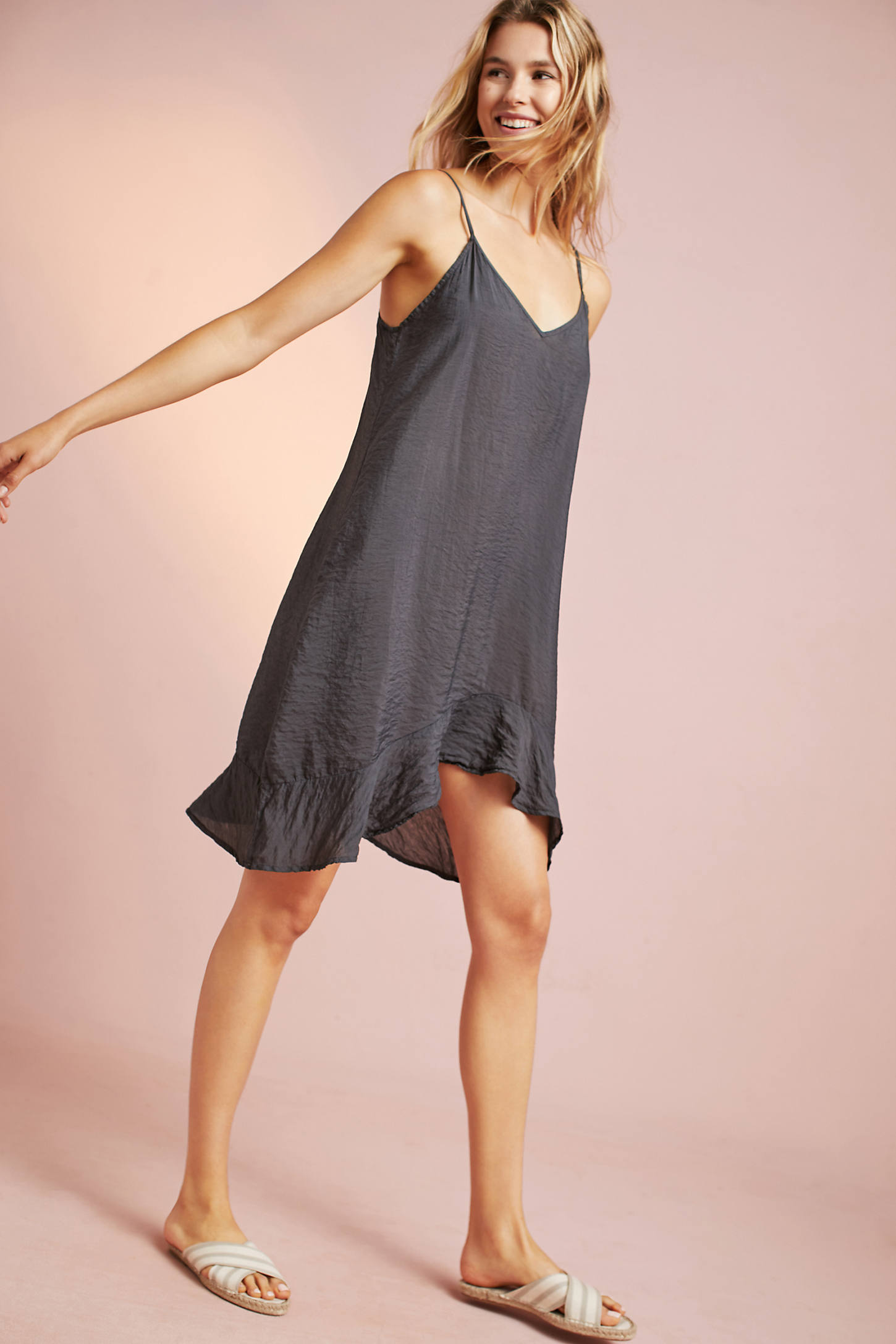 Asymmetrical Ruffled Slip Dress
