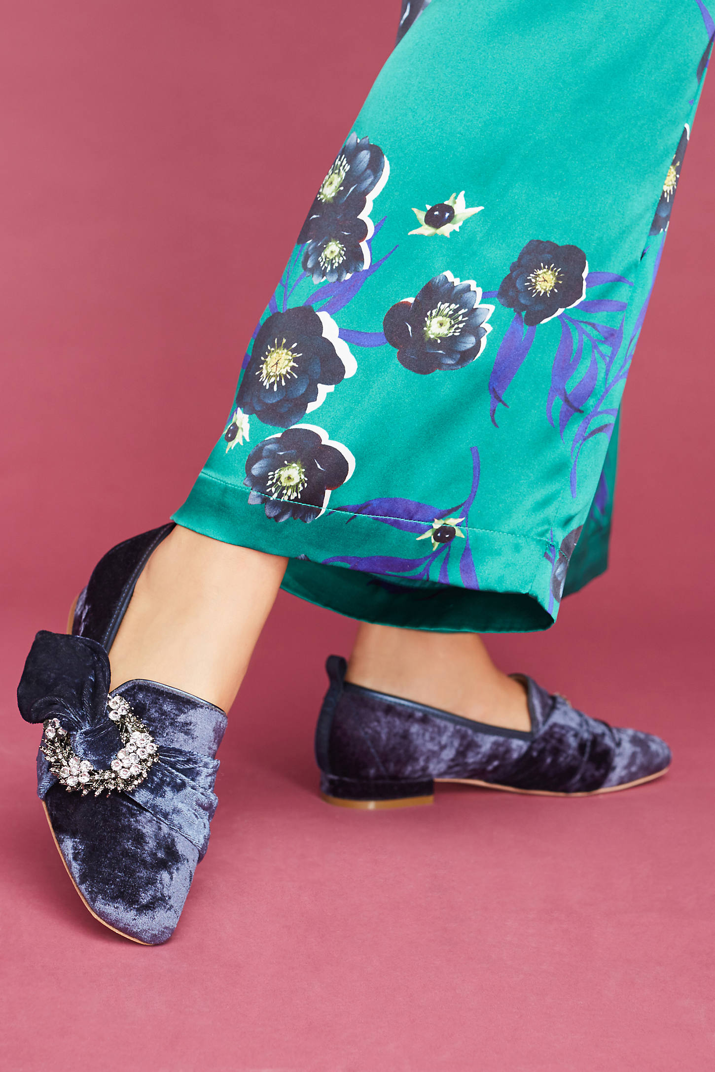 Bill Blass Velvet Laverne Knotted Loafers