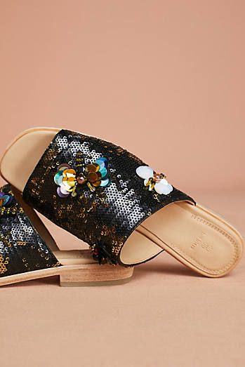 Bill Blass Niki Sequin Slide Sandals