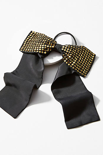 Studded Silk Bow Pony Holder
