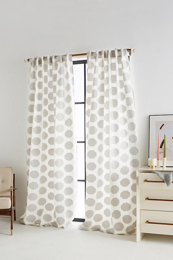 Jacquard Herringbone Curtain - Grey, Size 50 X 84