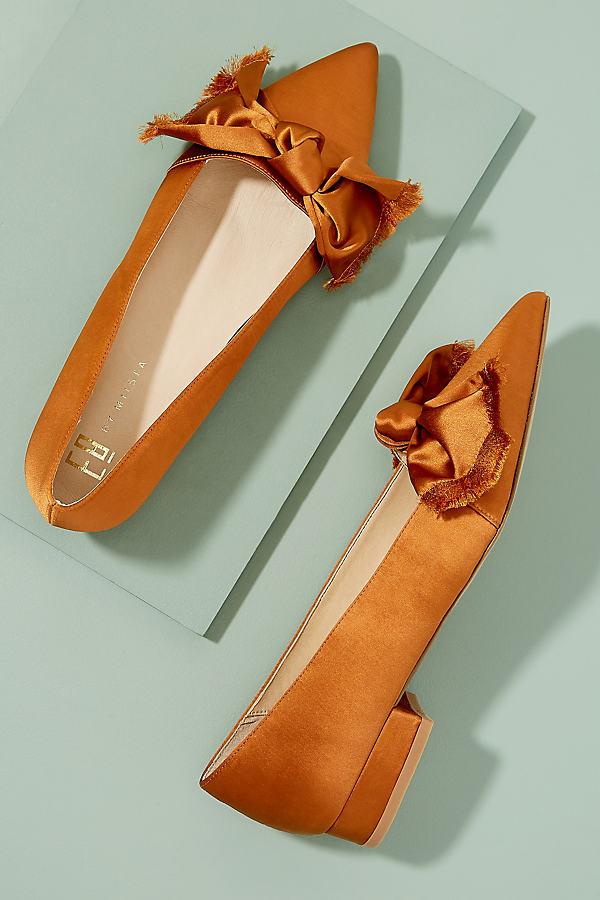 Edith Bow-Detail Satin Pumps - Orange, Size 38