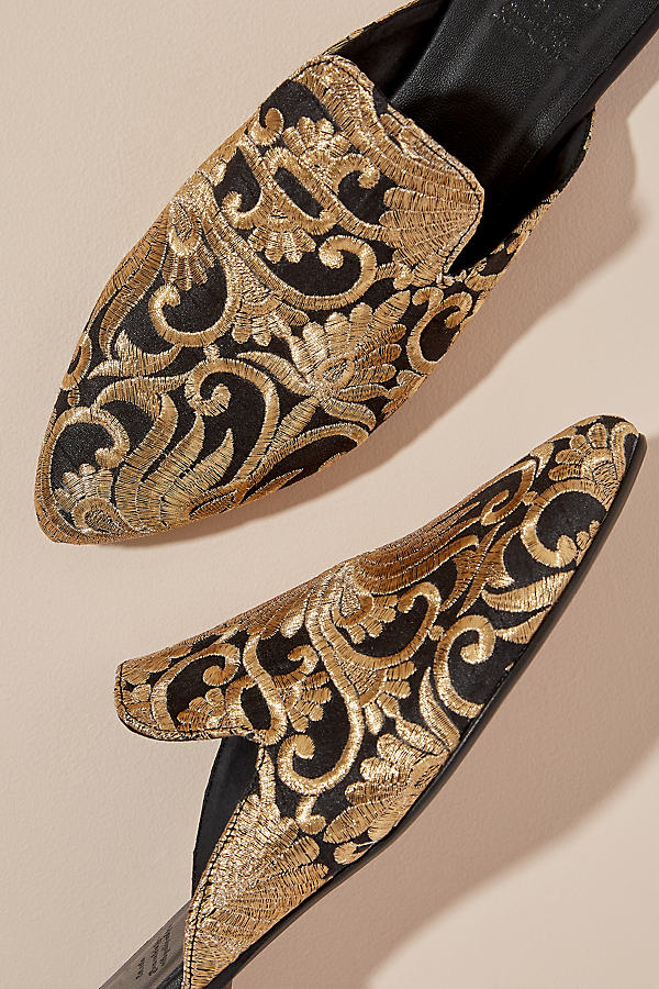 Metallic Embroidered Mules - Gold, Size 40