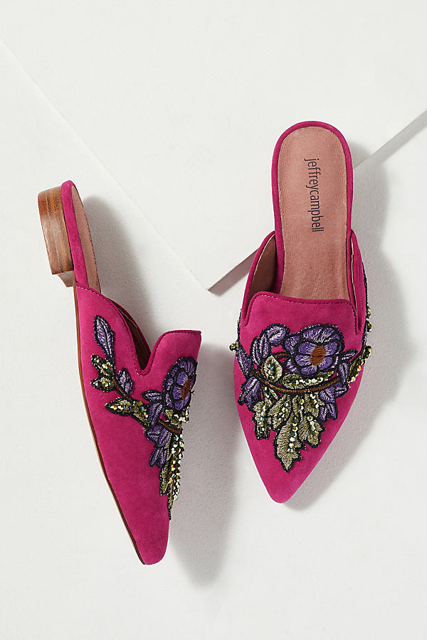 Jeffrey Campbell Embroidered-Backless Flats - Pink, Size 37