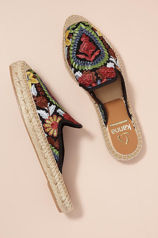 Kanna Embroidered-Raffia Slip-on Espadrilles - Black, Size 39