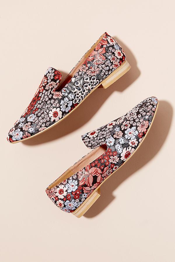 Vanessa Wu Floral-Print Flats - Pink