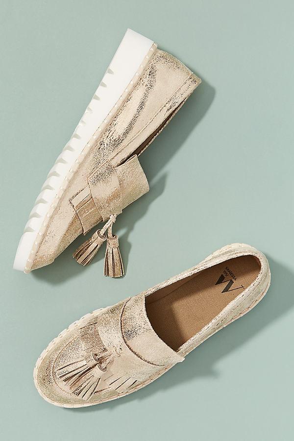 Vanessa Wu Metallic Tasselled-Leather Loafers - Gold, Size 37