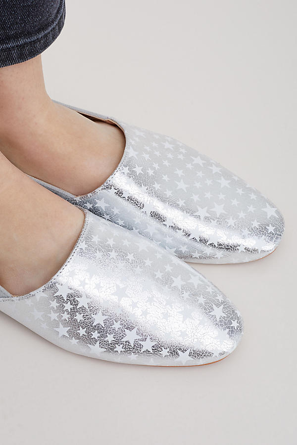 Slide View: 5: Vanessa Wu Keli Star-Print Metallic Leather Flats