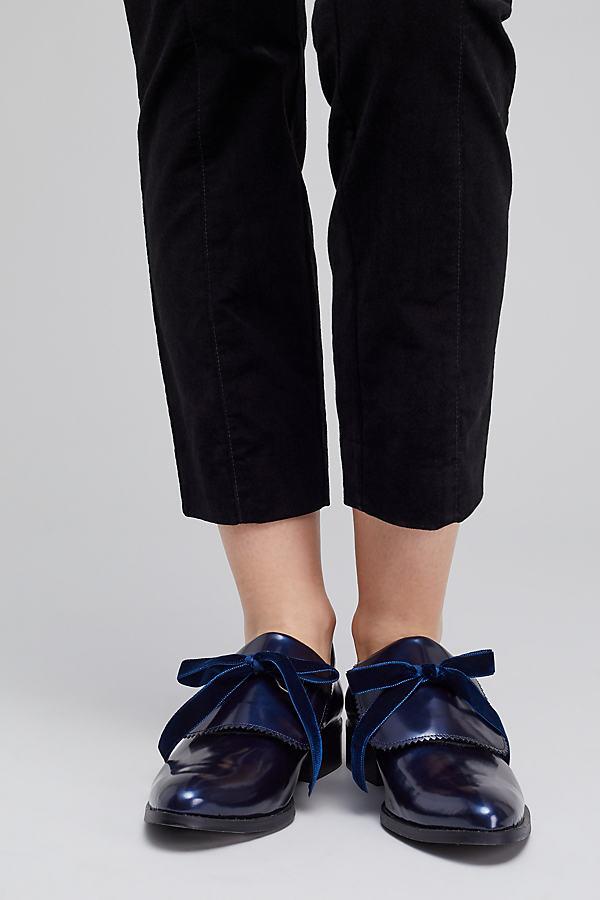 Elysess Bow Leather Monk Shoes, Blue - Blue, Size 41