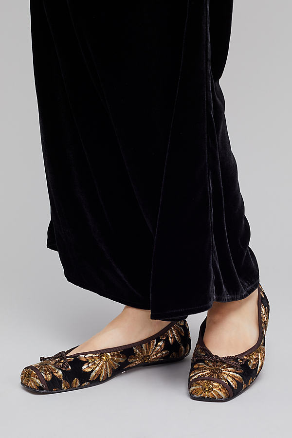 Marissa Embellished Suede Flats, Gold - Gold, Size 37