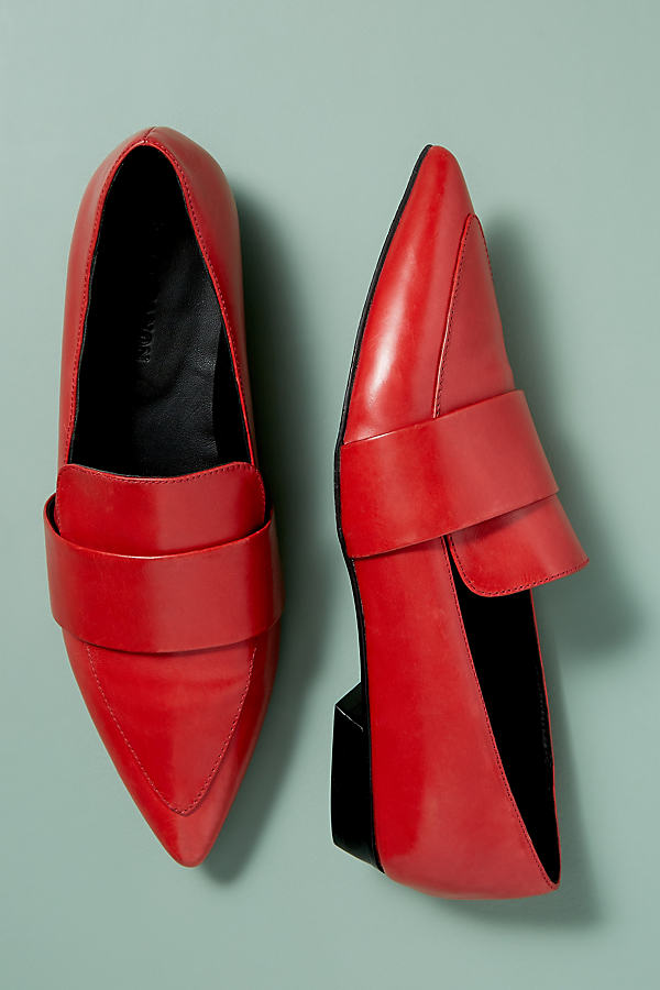 Kerrie Patent-Leather Loafers - Red, Size 39