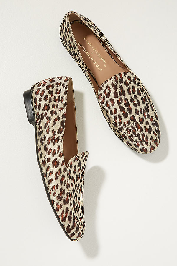 Leopard-Print Satin Loafers - Brown, Size 39