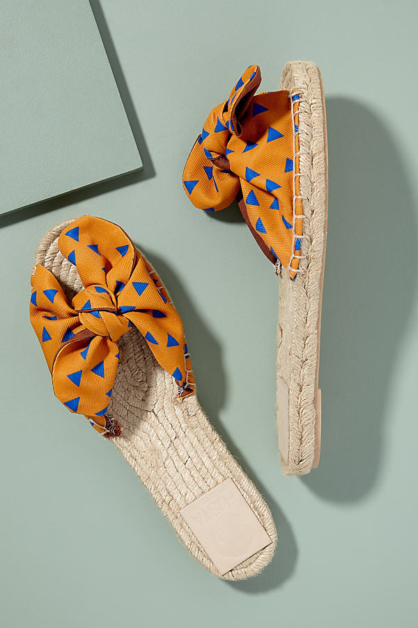 Fusta Bow-Tie Espadrille Flats - Orange, Size 39