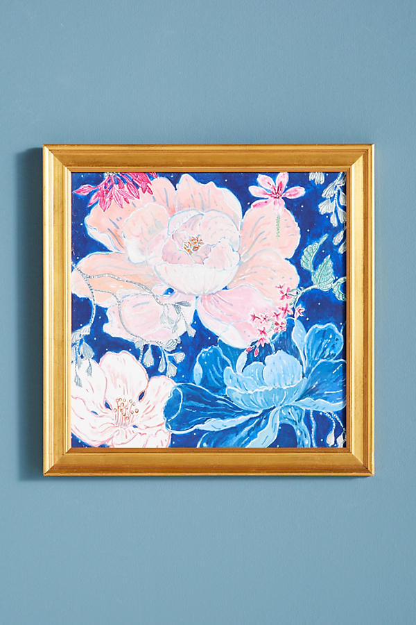 Slide View: 1: Blue Floral Wall Art