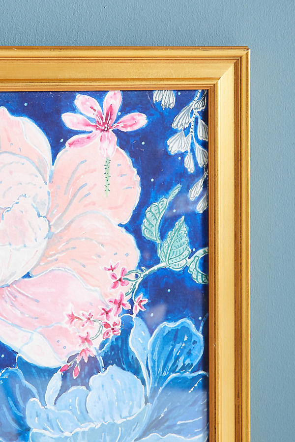 Slide View: 2: Blue Floral Wall Art