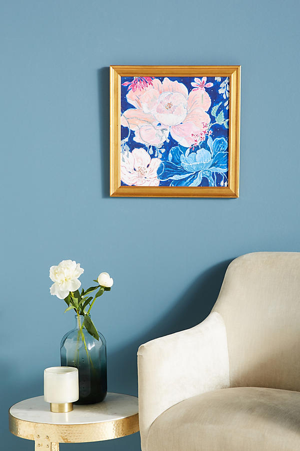 Slide View: 3: Blue Floral Wall Art
